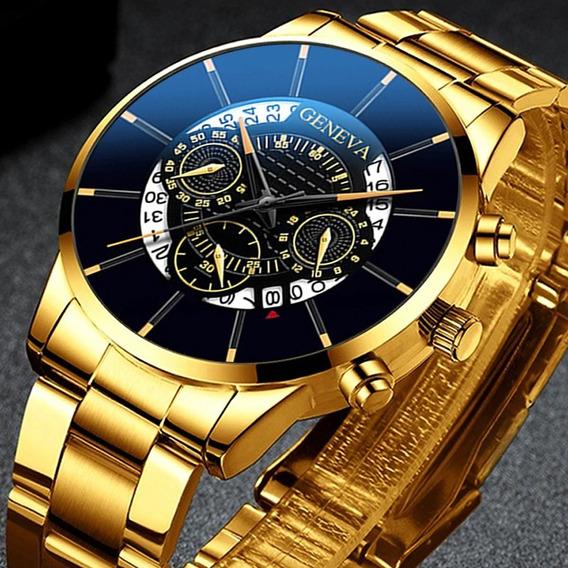 Relógio Masculino Geneva Dourado Preto Aço Com Calendário