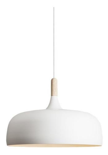 Lampara Campana Colgante Blanca Y Madera 33cm Moderna Chiaro