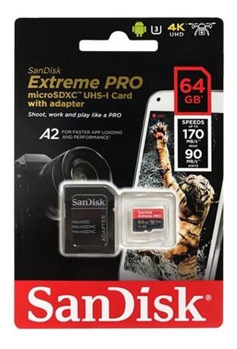 Imagem 1 de 5 de Cartão Memória 64gb Micro Sd Extreme Pro 170mbs V30 Sandisk