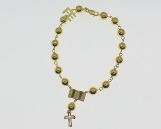 Pulseira Bracelete Bola Ouro 18k Fé Bíblia Cruz Ouro 18k Jsp2135