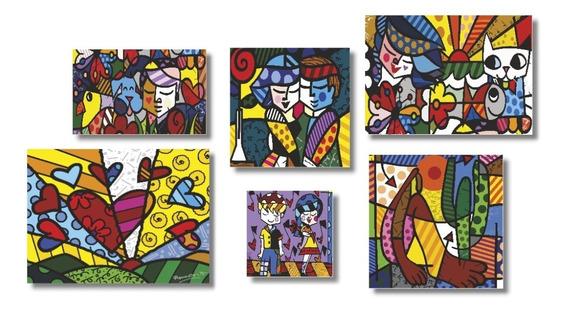 Romero Brito 6 Quadros Placas Decorativas Mdf Salas 1x50