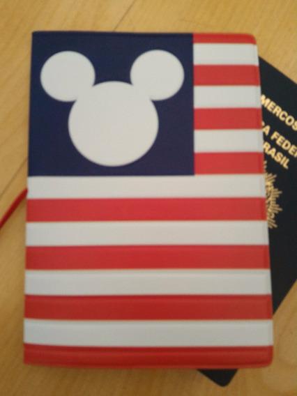 Capa Passaporte Disney Mickey Bandeira Americana Orlando @