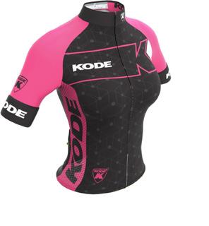 Camisa Feminina Kode Elite Expert Preto/rosa Fluorescente.