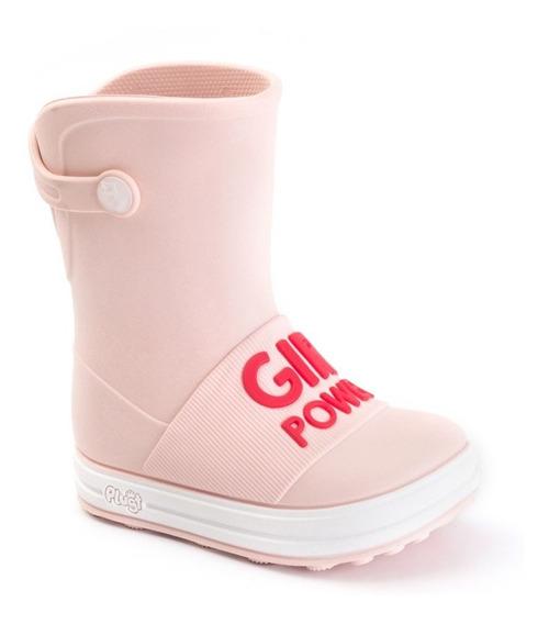 Bota Galocha Plugt Girl Power Infantil - Rosa/vermelho