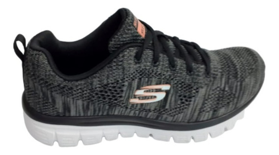 Tênis-skechers F Graceful 2.0-teigan -bkw
