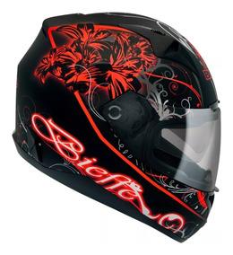Capacete Moto Bieffe B40 Lirium Vermelho Com Óculos Interno
