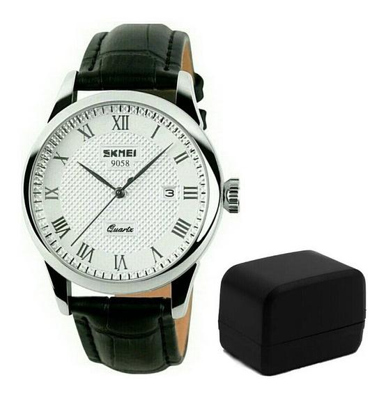 Relógio Skmei 9058 Promoção Luxo B Prat Pret Pulseira Couro