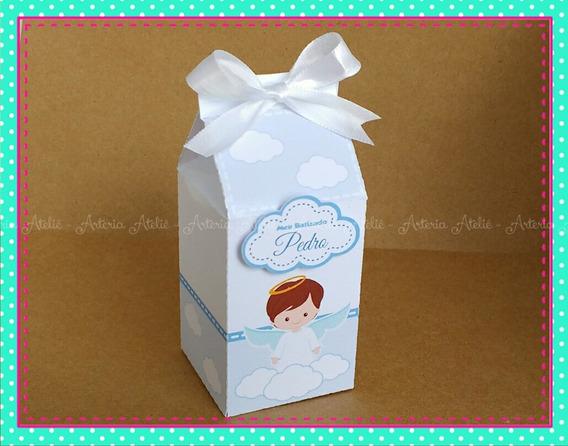 10 Caixa Milk Lembrancinha Tag Batizado Menino Anjo Anjinho
