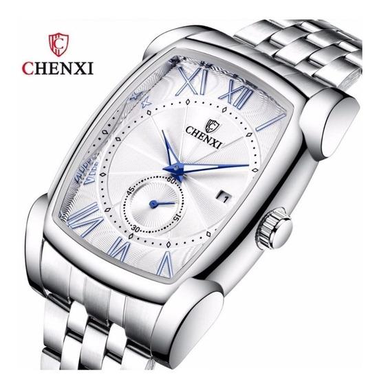 Relógio Chenxi Executivo Prata Fundo Branco Prova D`água Top