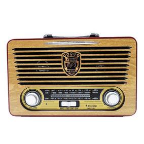 Radio Portatil Bluetooth Madeira Am Fm Usb Luxo Retro Top