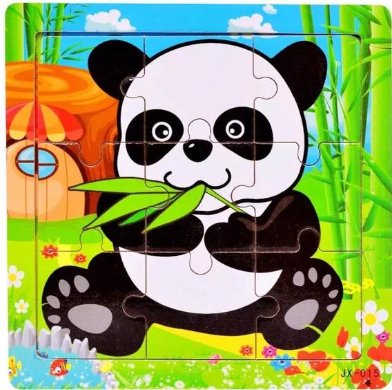 Brinquedo Montessori Pedagógico Quebra Cabeça Madeira Panda