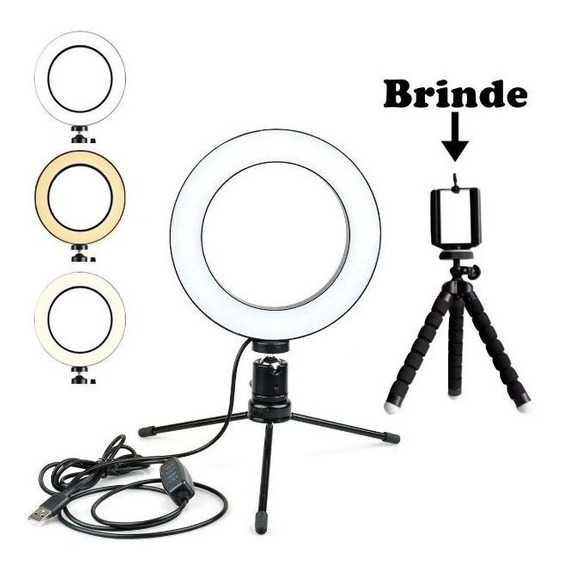 Ring Light Iluminador Selfie Makeup + Tripé De Mesa Oferta !