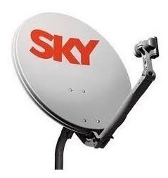 Kit 05 Antenas Ku Sky 60cm Com Lnb Duplo E 100m Cabo Rg59