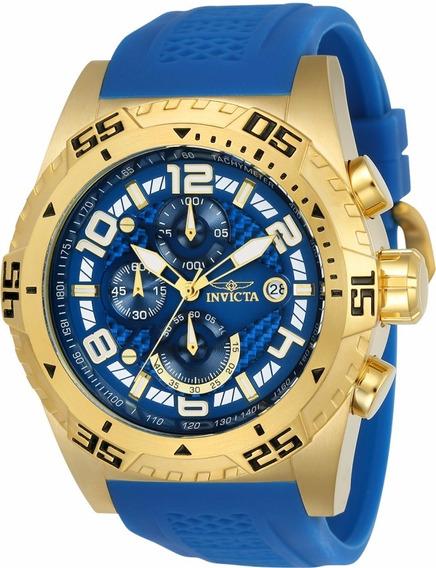 Relogio Invicta Pro Diver Doura Pulseira Borracha Azul 24713