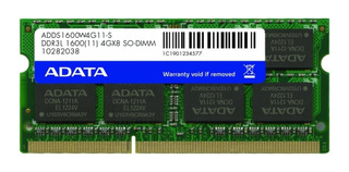 Memoria Ram Ddr3l 4gb 1600mhz Adata Premier Laptop Adds1600w4g11-s