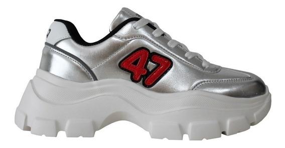 Zapatillas Mujer 47 Street Gold Blancas Negras Cordones