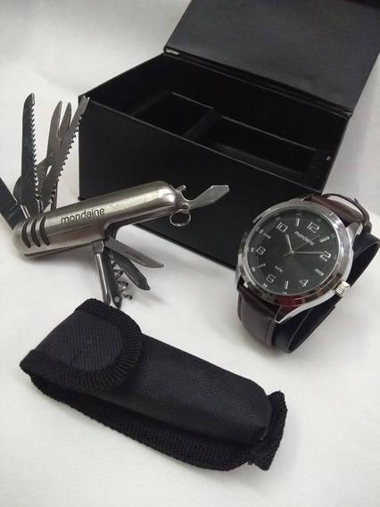 Kit Relógio Couro Sintético Mondaine Masc. 53517g0mvnh2ka