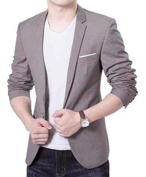 Saco Blazer Elegante Slim Fit Gris Moda Corea