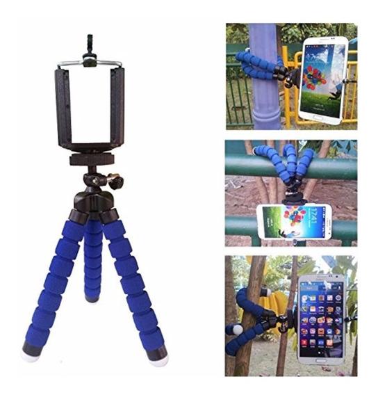 Mini Tripé Flexível Para Smartphones E Câmeras - Cor Azul