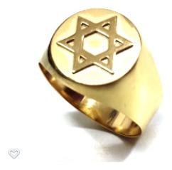 Anel Hexagrama Estrela De Davi Ouro Amarelo 18k 750 Redondo