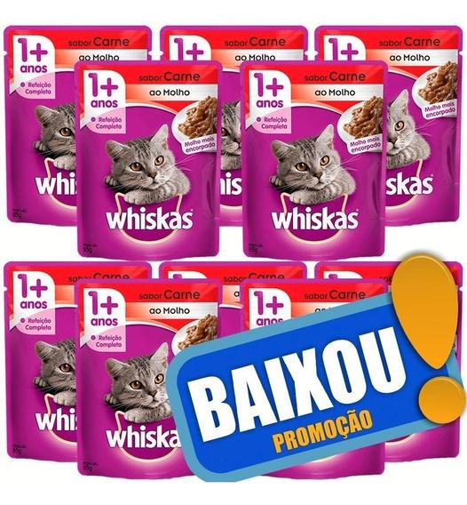 10 X Ração Whiskas Sachê Sabor Carne Para Gatos Adultos 85gr