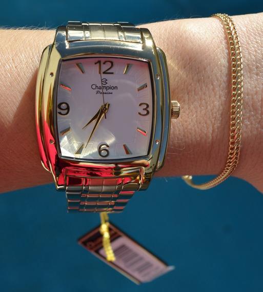 Relógio Champion Feminino Dourado Quadrado Grande Original