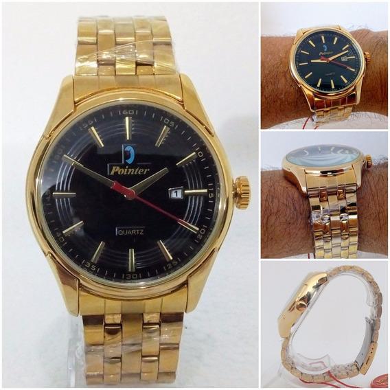 Relógio Masculino Dourado Pointer D052 Original Super Vip
