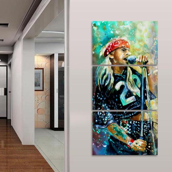Quadro Decorativo Axl Rose Rock Música Guns N Roses 3 Peças