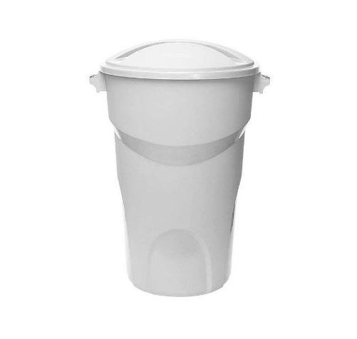 Balde Plastico Com Tampa Capacidade 100 Litros Branca 1linha