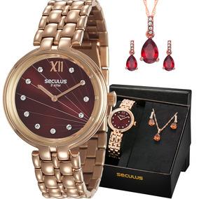 Kit Relógio Seculus Feminino Colar E Brincos 13022lpsvrs4k1