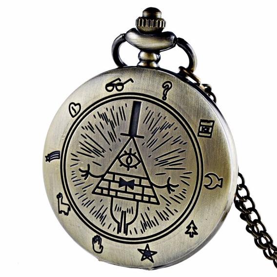 Reloj Bolsillo Gravity Falls Collar Anime Iluminati 4.5 Cms