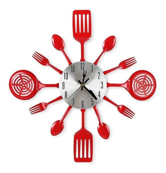 Reloj De Pared Utencilios De Cocina Rojo Cirega