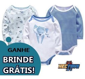 Body Bodie Bories Body Frio Bebê Pijama Listrado Azul Menino