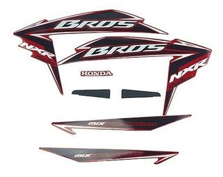 Kit Jogo Adesivo Honda Nxr150 Es Bros 2011 Vermelho