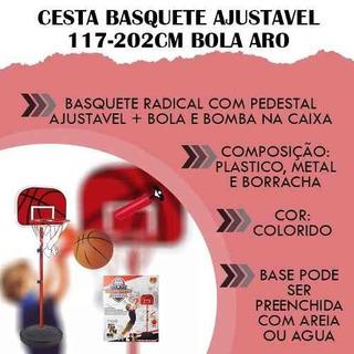 Casa Portátil Cesta Basquete Ajustavel 117-202cm Bola Aro