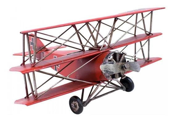 Avião Metal Vermelho De Hélice Miniatura 25cm Retrô -vintage