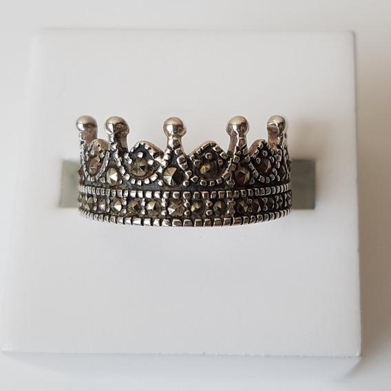 Anel Prata 925 Coroa Marcassitas Aro 15,5 (ref. 193)