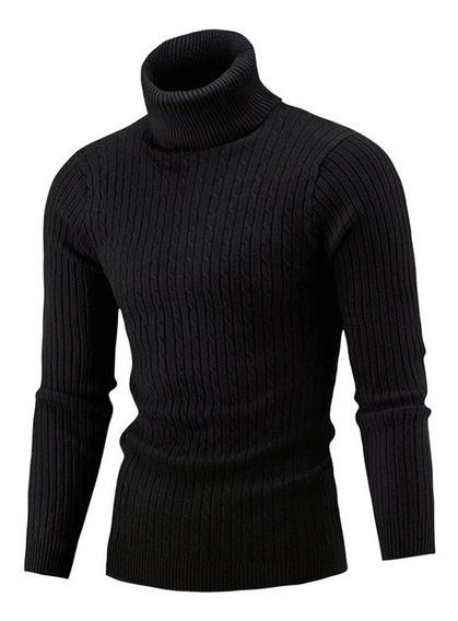 Suéter De Punto De Cuello Alto De Invierno Para Hombre