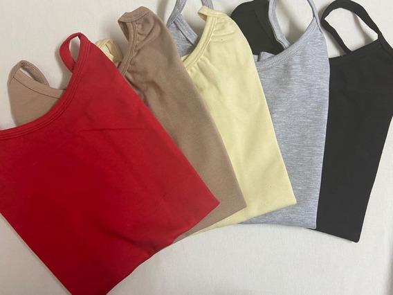 Camisetas De Algodon Con Bretel X4, Lisas. Varios Colores