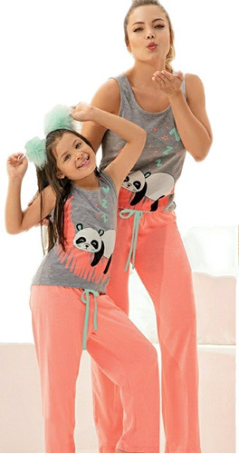 Kit Pijama Mama E Hija Oso Panda Pantalon Multiuso X2und