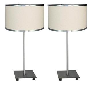 Pack 2 Veladores Cuadrados Cromo Moderno Lampara Lampdesign