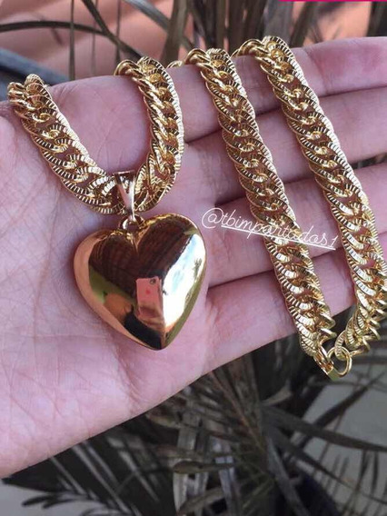 Corrente Grossa Mais Pingente Coração Banhado A Ouro 18 K