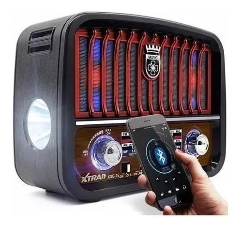 Caixa Som Retro Bluetooth Radio Am Fm Usb Sd - Cor Vermelho