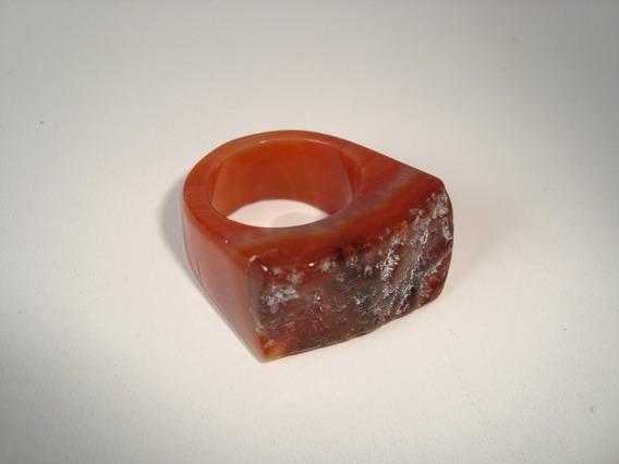 Anel De Pedra Natural Ágata Geodo Rústico Aro 22 - 16