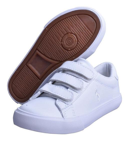 Tenis Polo Ralph Lauren Para Niño Blanco Solido Con Broches