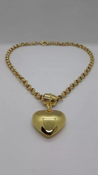 Pingente Coração + Cordão Baiano Banhado Ouro Frete Gratis!