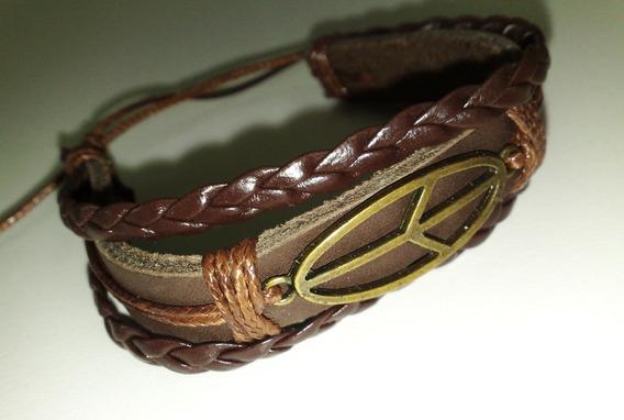 Pulseira Bracelete Em Couro - Fecho Deslisante - 18 À 26 Cm