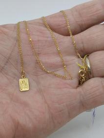 Cordão Corrente Fina E Santo Antonio Em Ouro 18 K 66,0 Cms.