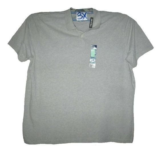 Camiseta Gris Tipo Polo De Hombre Talla 3x Basic Edition