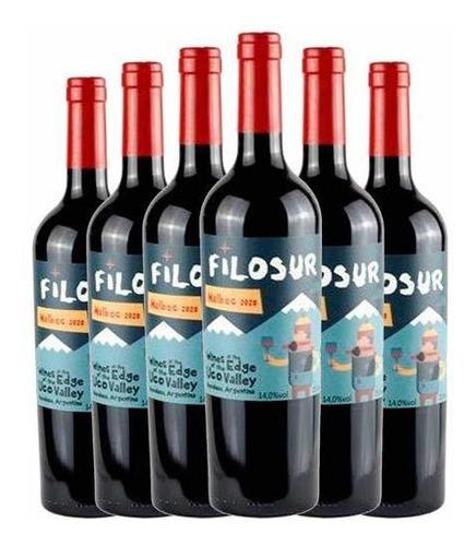 Kit 06 Unidades De Vinho Tinto Filosur Malbec 2020 Com 750ml